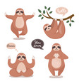 set cute sloths hanging on tree and do vector image