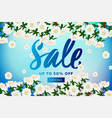spring sale with blossom sakura on blue vector image
