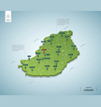 stylized map hungary isometric 3d green map vector image