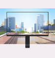 transparent monitor screen cityscape background vector image vector image