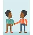 Two African-american guys happily handshaking vector image