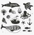 vintage hand drawn nautical set with plants vector image