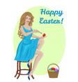 woman coloring eggs vector image vector image