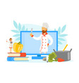 woman cooking healthy dish with male chef online vector image vector image