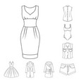 women clothing outline icons in set collection for vector image vector image