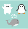 arctic polar animal icon set white bear penguin vector image