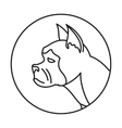 Line head dog in round vector image