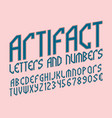 artifact alphabet with numbers and currency vector image vector image