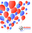 balloons background russia 2018 flag soccer vector image vector image