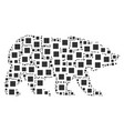 bear pattern of filled square icons vector image
