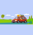 big family traveling car out town vector image vector image