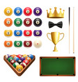 billiards sport 3d icon with ball cue and table vector image vector image