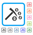 bitcoin mining hammer framed icon vector image vector image