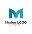 blue letter m business logo flat design vector image vector image