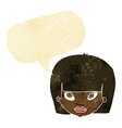 cartoon annoyed woman with speech bubble vector image vector image