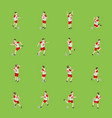 cartoon characters soccer player set on a green vector image