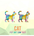 cat animal pet pop art low poly line logo icon