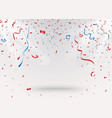 celebration background with red confetti and blue vector image