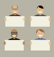 characters with white card board vector image vector image