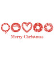 christmas hand drawn wreath set vector image vector image