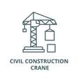 civil construction crane line icon linear vector image vector image
