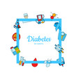 colored diabetes icons with place for text vector image vector image
