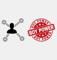 contour user links icon and grunge boy vector image vector image