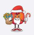 crab apple cartoon mascot character in santa vector image vector image