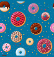 cream tasty donuts seamless pattern yummy vector image
