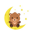 cute cartoon teddy bear on moon vector image