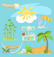 cute poster on theme of travel bright sun on the vector image
