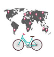 cycling around the world with routes pins and vector image