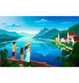 family admires nature beautiful mountain vector image vector image