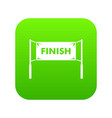 finish line gates icon digital green vector image vector image