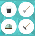 flat icon dacha set of hay fork harrow hothouse vector image
