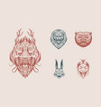 grizzly bear lion and hare screaming mad leo and vector image vector image