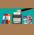 hand putting document paper in shredder machine vector image vector image