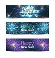 Happy New Year banners set with fireworks vector image vector image