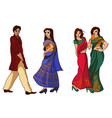 indian fashion set vector image vector image