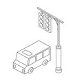 isometric bus urban infrastructure cars and buses vector image vector image