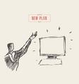 man raised hand monitor presentation plan vector image vector image