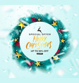 merry christmas sale postergreen christmas wreath vector image vector image