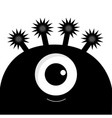 monster head silhouette with one eye black color vector image vector image