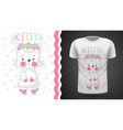 pretty kittty idea for print t-shirt vector image vector image