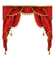 realistic luxury red curtains with drapery vector image