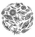 round floral design with black and white banana vector image
