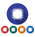 round icon of central processing unit flat style vector image