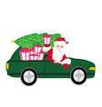 Santa Claus driving car with Christmas gift vector image