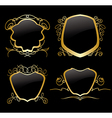 set of golden frames on vintage decorations vector image