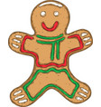 smiling gingerbread isolated on a white vector image vector image